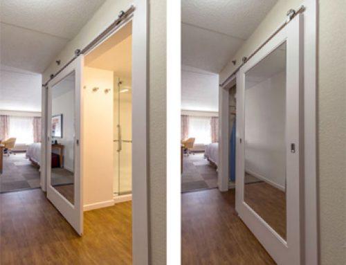 Hampton Inn Mirror Inlay Sliding Barn Door for Bathroom and Closet