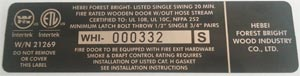 Fire Rated Wood Doors Label