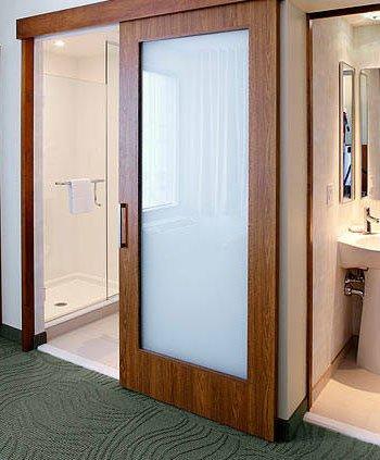 Springhill Suites Hotel Slide Bathroom Doors With Obscure Glass Insert & Springhill Suites Hotel Sliding Barn Doors - Forest Bright Wood Doors